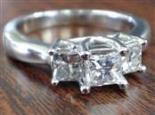 VINTAGE PRINCESS CUT 3 DIAMOND ENGAGE RING SOLID 950 PLATINUM SIZE 6